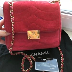 Chanel Red Suede Bag